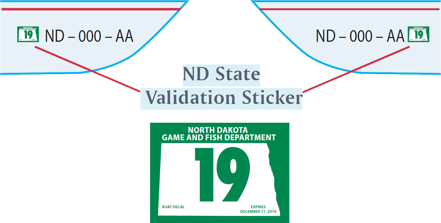 Graphic showing where to attach numbers and sticker