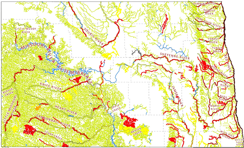 Rivers Streams And Riparian North Dakota Game And Fish - North dakota rivers map