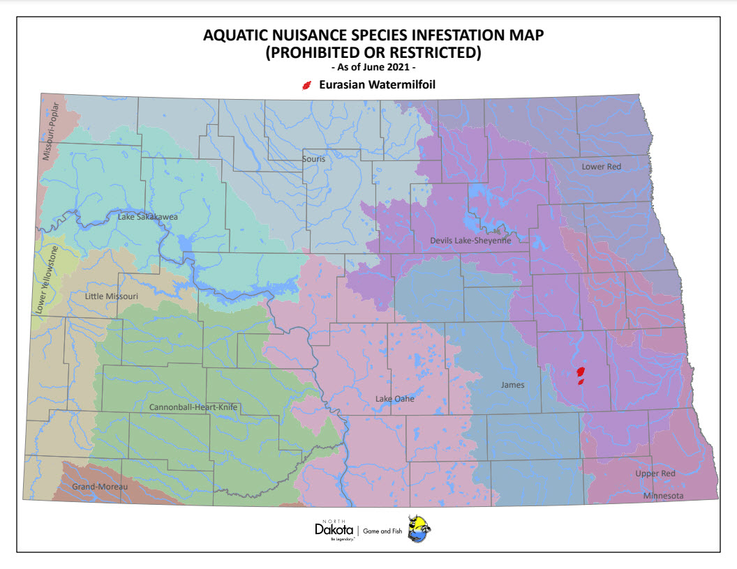 ANS Infested Waters In North Dakota North Dakota Game And Fish - North dakota rivers map