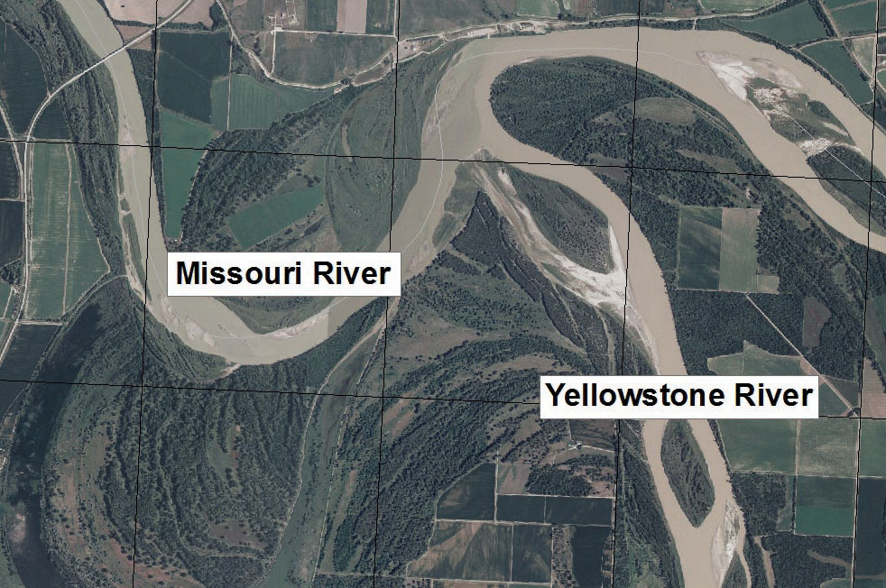 Aerial photo of Missouri and Yellowstone Rivers