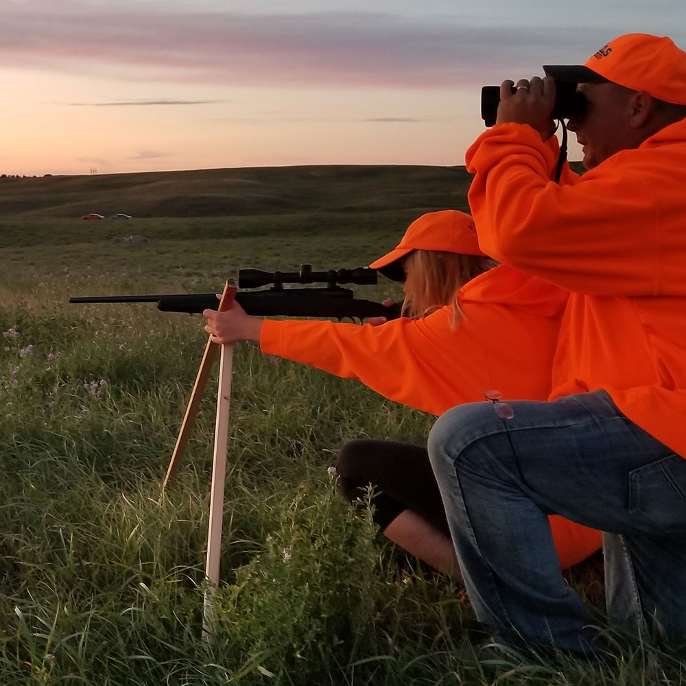 Father and daughter deer hunting