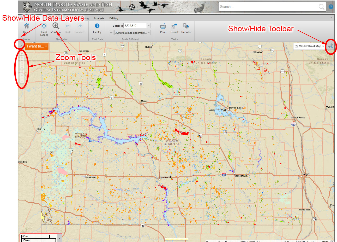 How to customize a map north dakota game and fish for North dakota game and fish