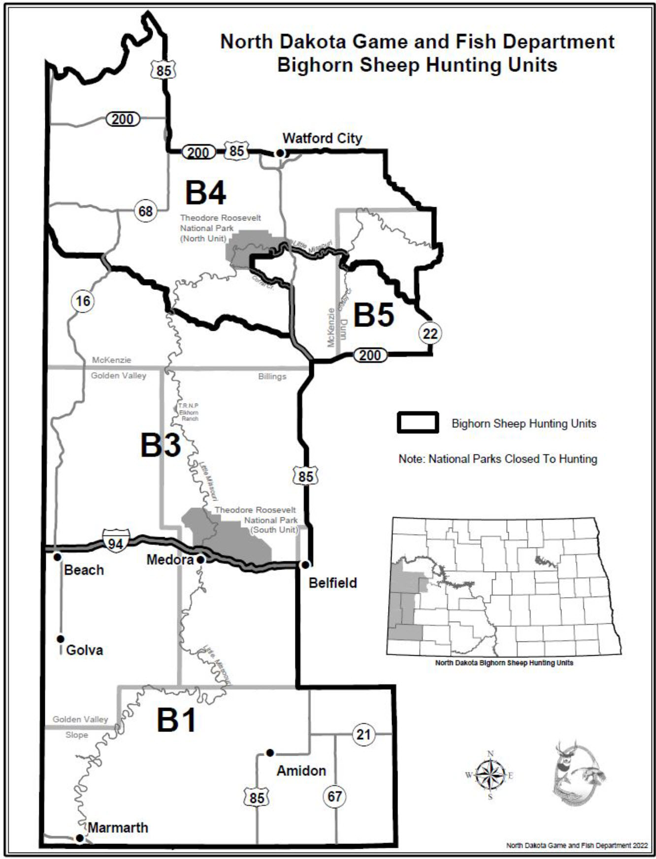 Bighorn Sheep Management Unit Map