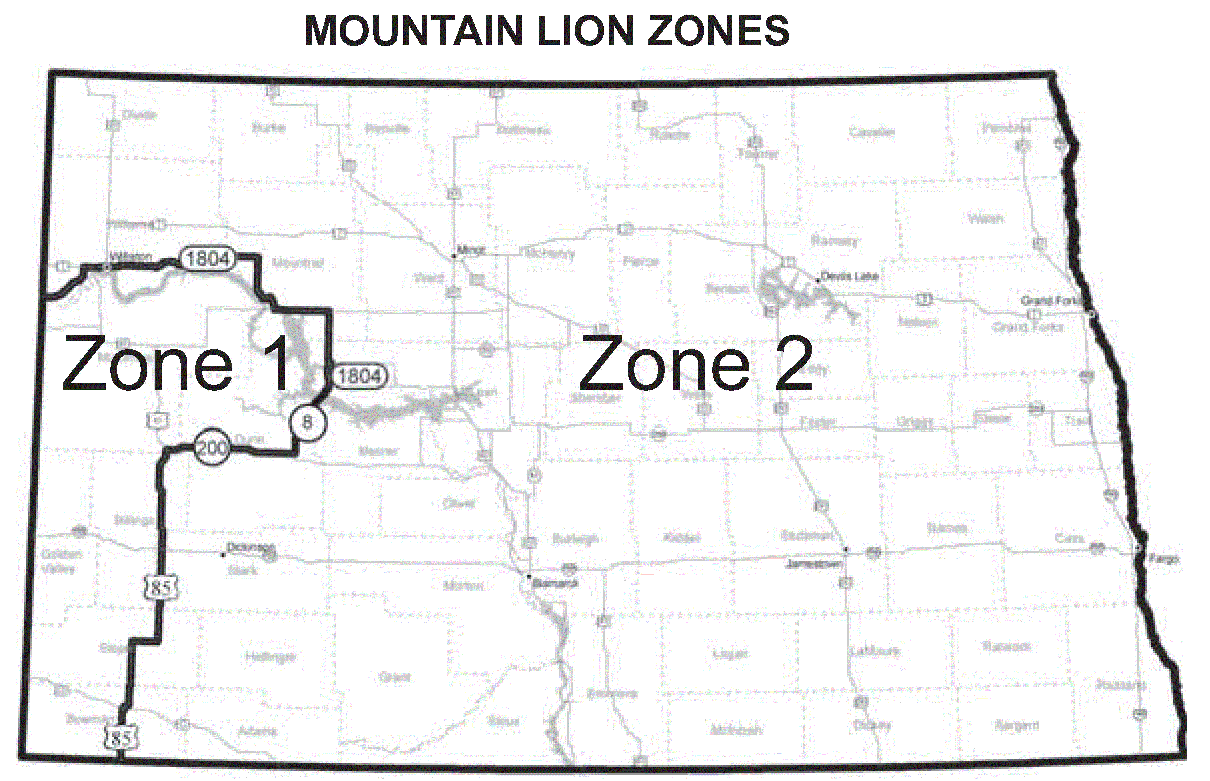 Map of mountain lion zones.