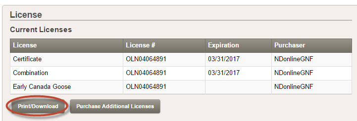 Screenshot of license print button on My Account page