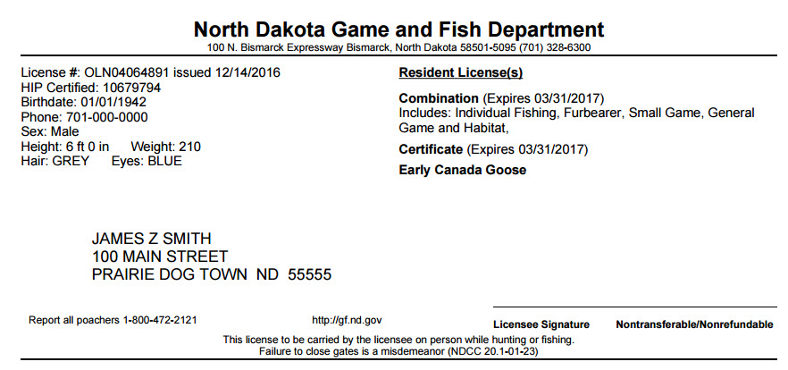 Purchasing Or Printing A License North Dakota Game And Fish