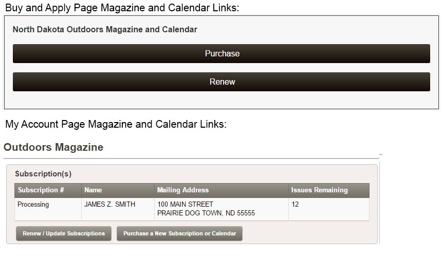 Screenshot of links into magazine/calendar purchase and renewal functionality