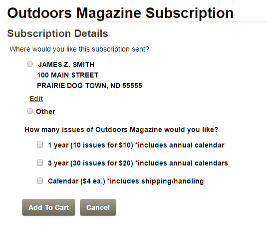 Screenshot of the magazine/calendar purchase screen with user info. prepopulated