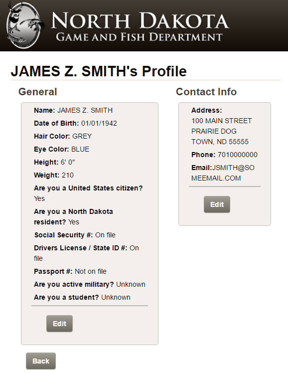 Screenshot of example profile page