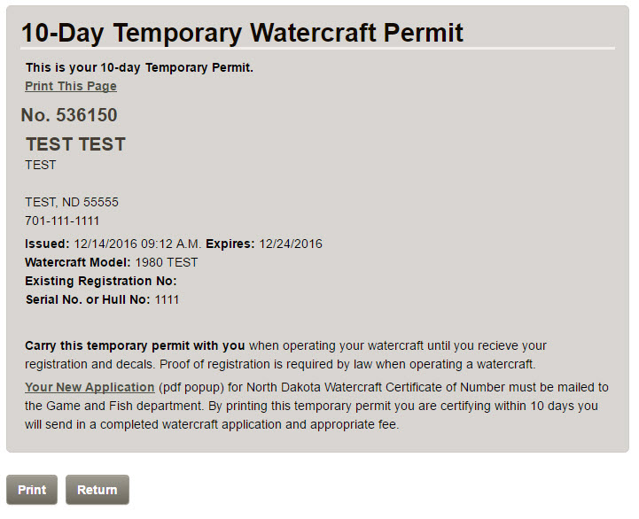 Screenshot of printable temporary permit