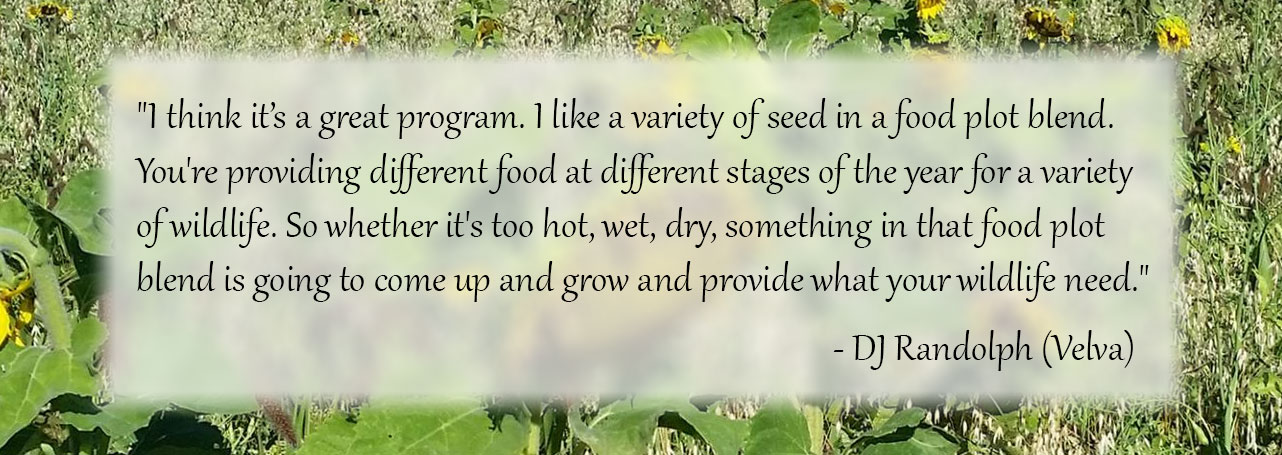 Quote from North Dakota farmer praising the seed mix.