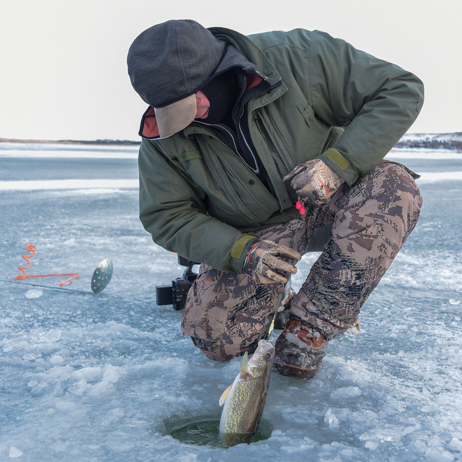 Angler pulling fish out of ice hole