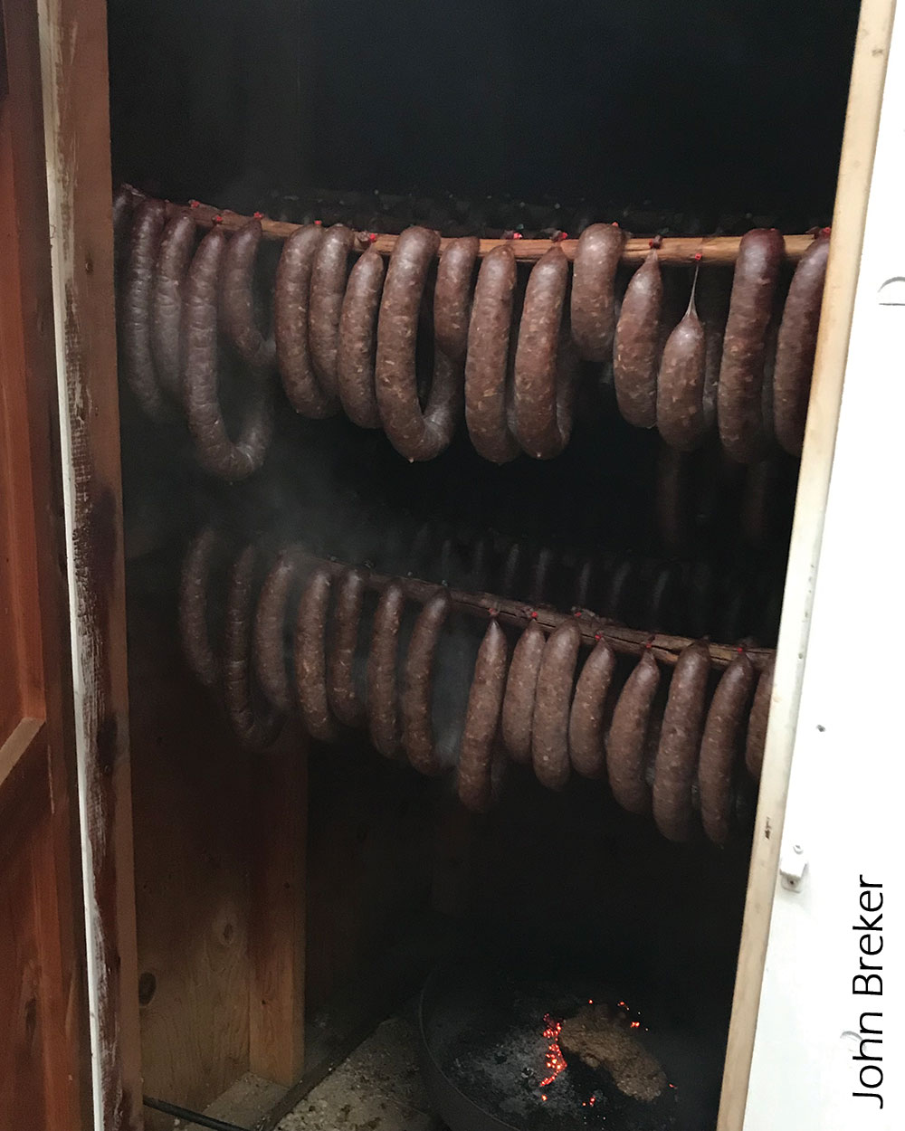 Sausage on racks
