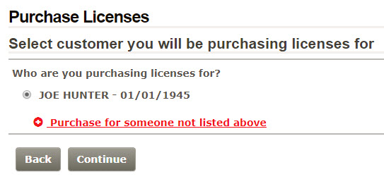Licensee selection page screenshot