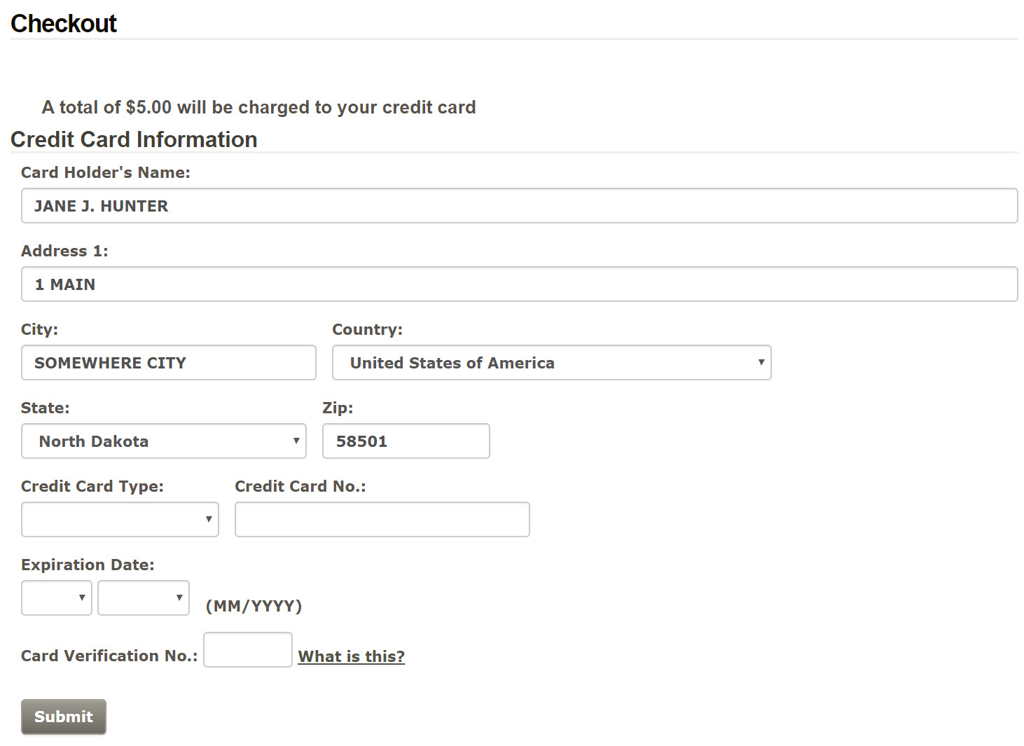 Payment page screenshot