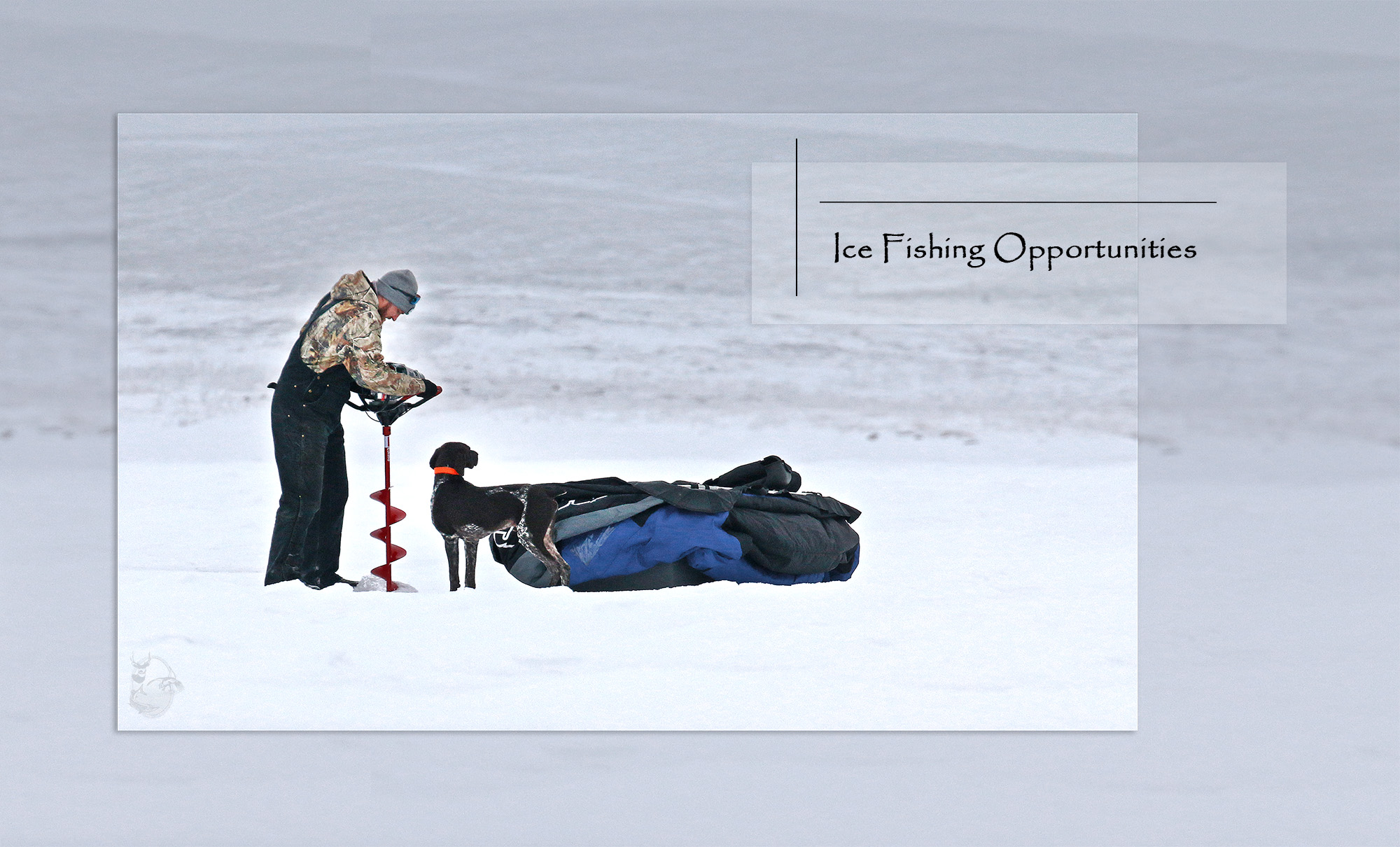 Man with dog drilling hole in ice on lake