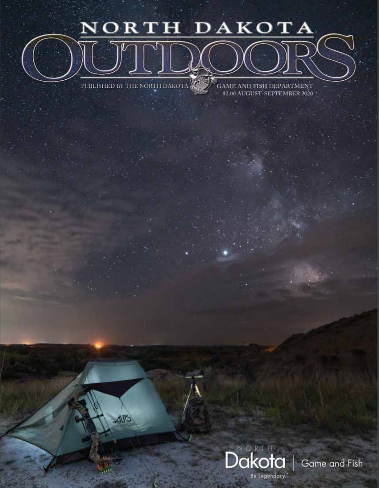 Magazine cover - tent with night sky