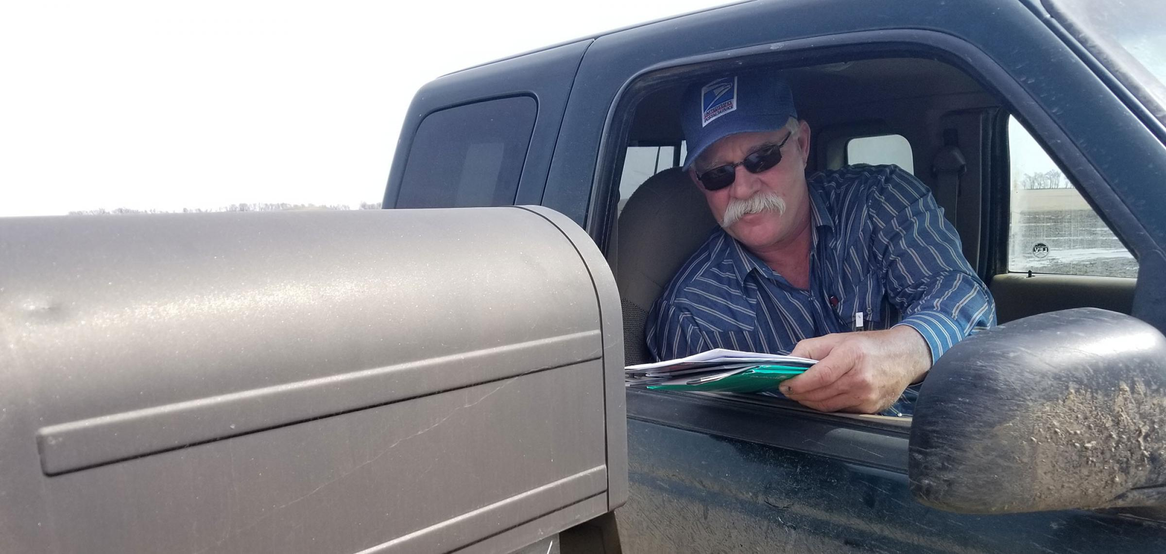 Jeff Trzpuc is a rural mail carrier from Kathryn. Trzpuc has delivered mail for more than 20 years and has helped the Department with its survey during the course of his career.