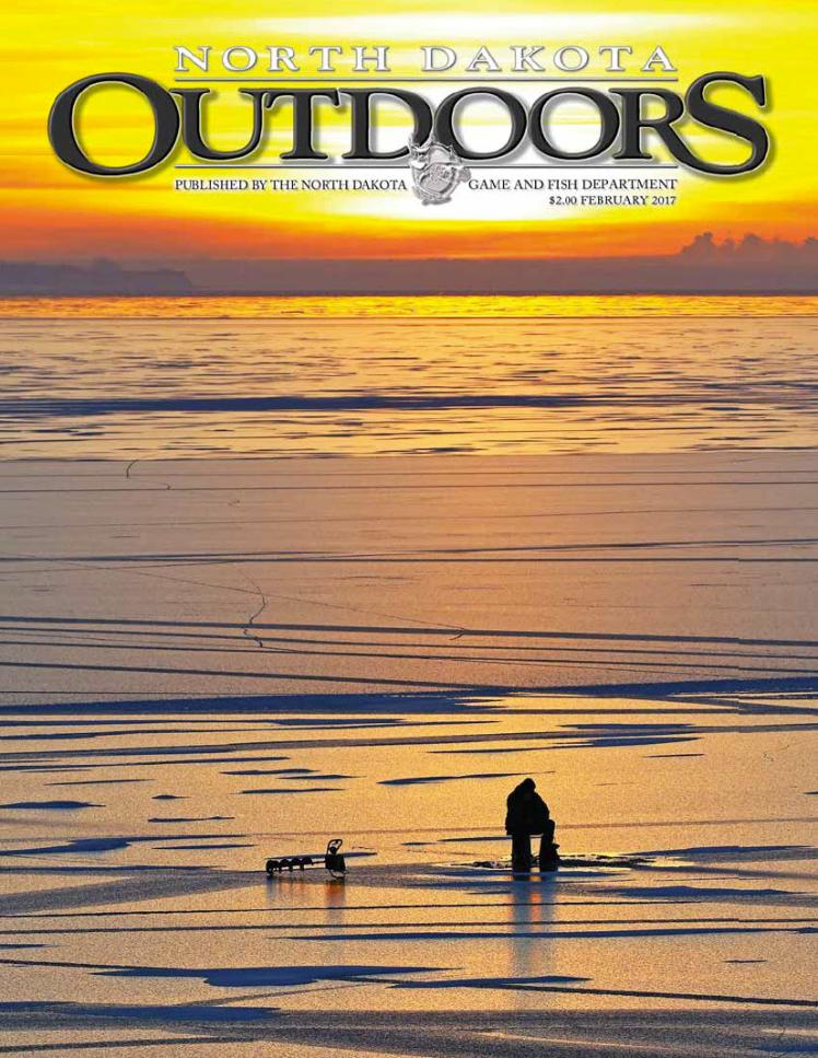 Magazine cover photo of person ice fishing
