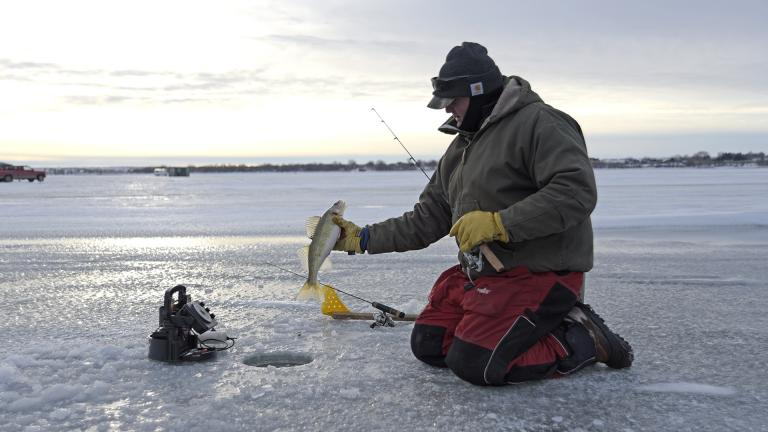Angler with fish on frozen lake